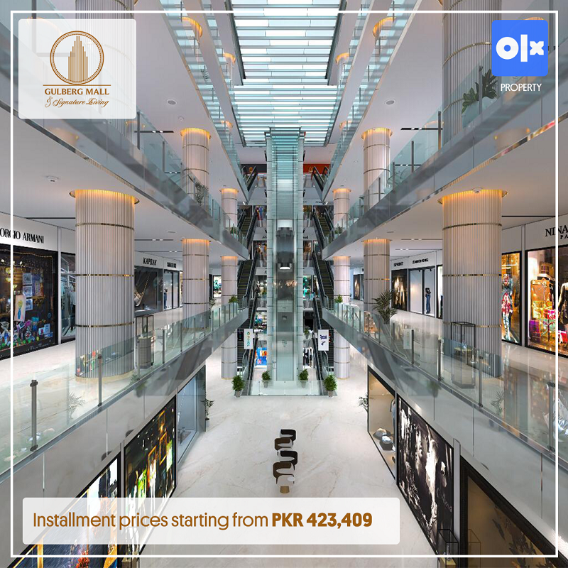 3D rendered image of the inside view of Gulberg Mall & Signature Living