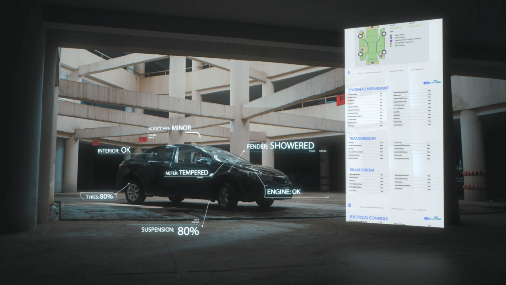A black car in warehouse. The image shows how the car performed on a few checkpoints during the Car Inspection. A sample report with details of the inspection also can be seen.