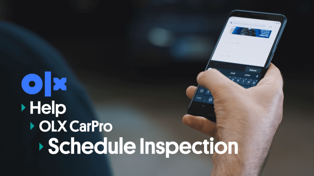 The car inspection booking form can be seen open on a phone. The image text summarizes the steps for scheduling a car inspection in 3 steps.