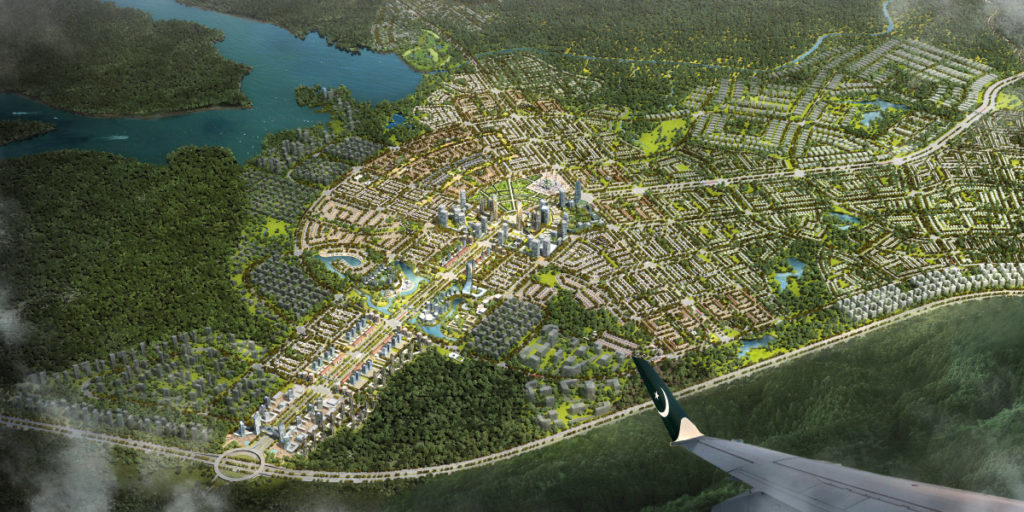 Graphically generated aerial view of Capital Smart City Islamabad.