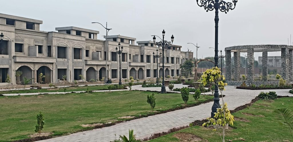 A view of some of the constructed homes in Al-Noor Orchards.