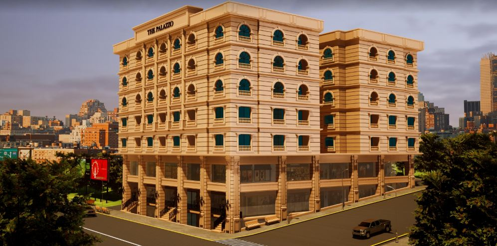 CGI of The Palazzo Building and it surrounding.