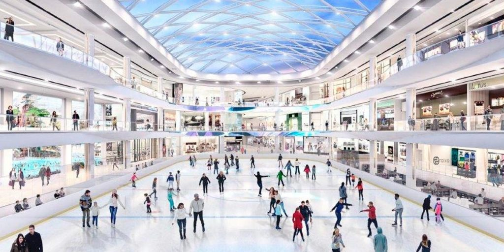 CGI Generated image of an ice-rink at a winter wonderland.