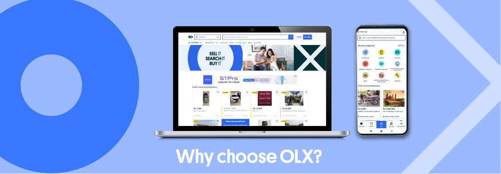 Designed image showing olx platforms in a laptop and a phone.