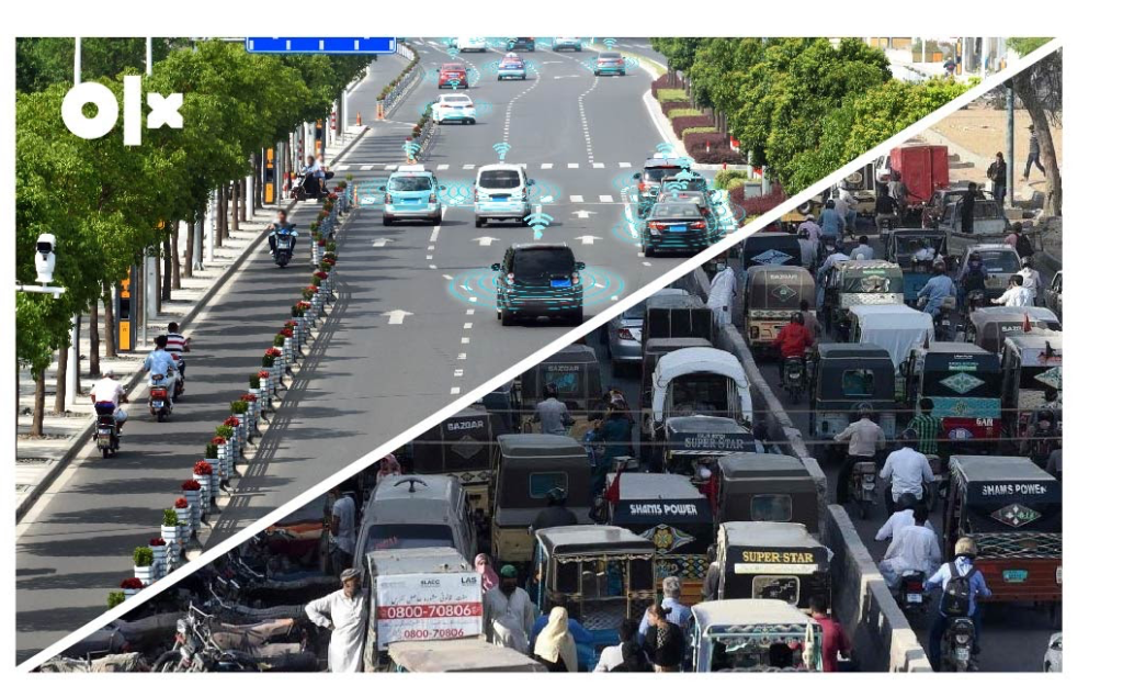 Designed creative showing contrasting images of a road with self-driving cars and the current traffic situation.