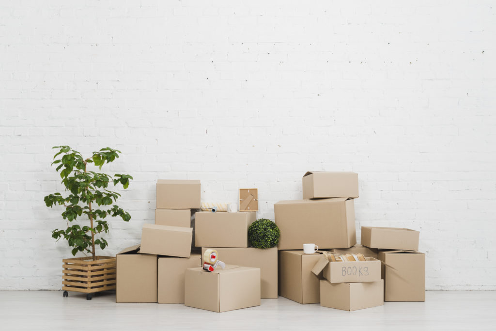 packed boxes against a wall