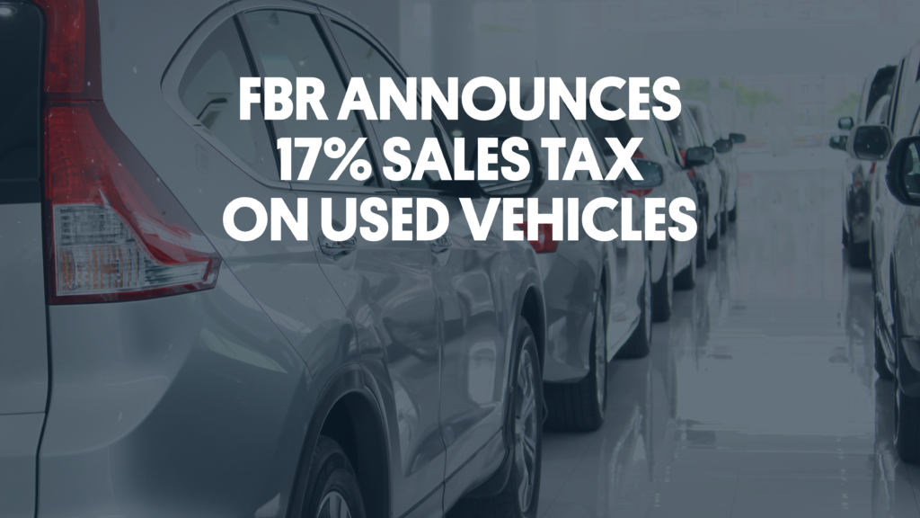 FBR announces sales tax on used vehicles