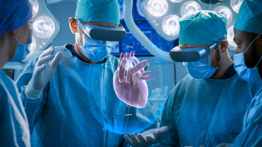 doctors performing heart surgery using MR headsets