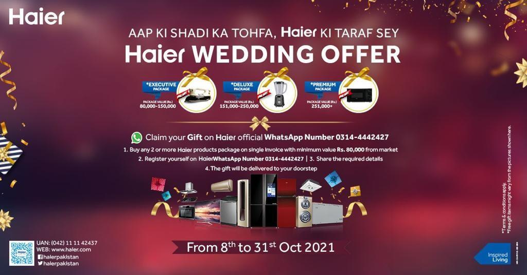 Aap ki shaadi ka tohfa, Haier ki taraf sey! Haier Wedding Offer
